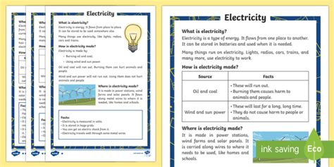 Electricity Differentiated Fact File  Light, Dark, Sources