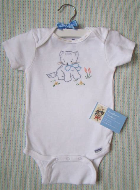 kitty onesie hand embroidered   cornflowercreations baby dress embroidery baby