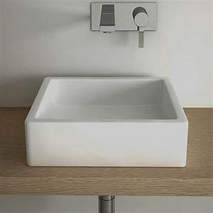 vasque a poser carree 40x40 cm ceramique pure With salle de bain design avec vasque carrée 40x40