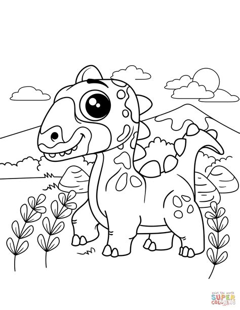 cute dinosaur coloring page  printable coloring pages