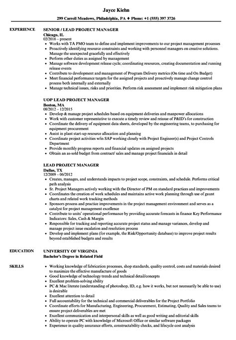 Sle Resume For Technical Lead by Lead Project Manager Resume Sles Velvet