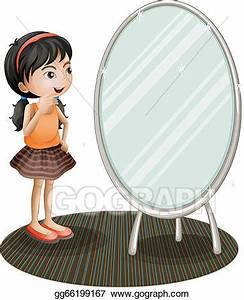 Vector Art - A girl facing the mirror. Clipart Drawing ...
