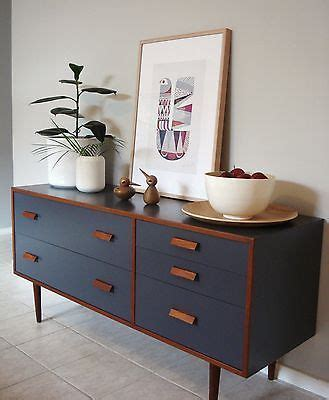 retro  alrob teak charcoal sideboard drawers