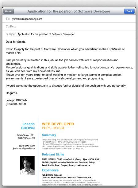 cover letter email tags  send resume body cover