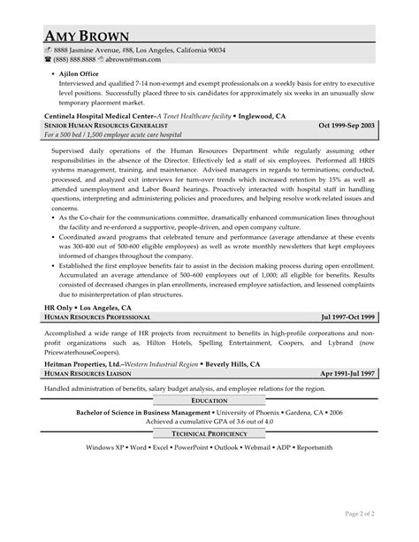 Human Resources Resume Format by Human Resources Resume Exles Resume Professional Writers