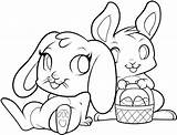 Easter Coloring Printable Bunny Pages Rabbits Sheets Bunnies Egg Basket sketch template