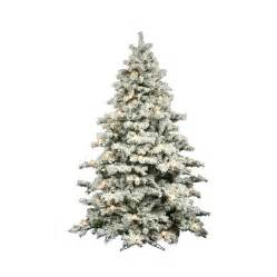 shop vickerman 9 ft pre lit alaskan pine flocked artificial christmas tree with white clear