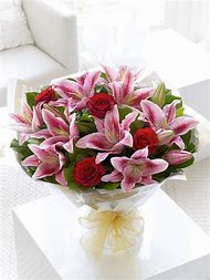 Red Rose and Lily Flower Bouquet