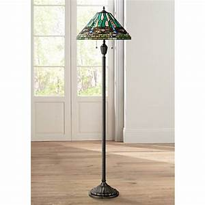 Quoizel king tiffany style vintage bronze floor lamp for Tiffany style vase floor lamp