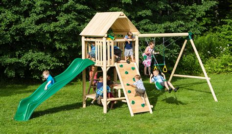 play   lookout wooden swing set  outdoor playset