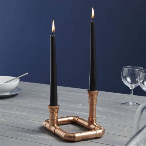 industrial candle holder industrial rectangular copper pipe candle holder by lime