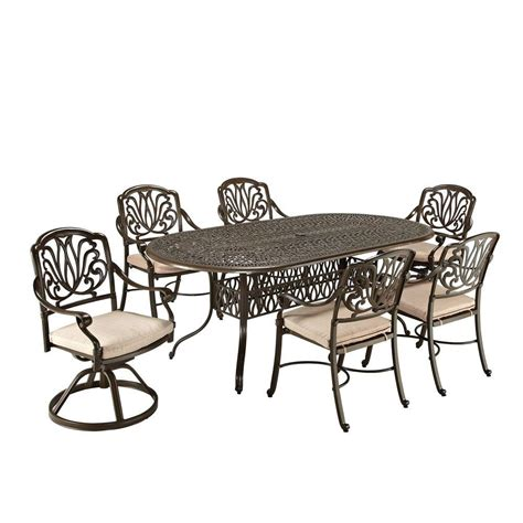 home styles floral blossom taupe 7 patio dining set