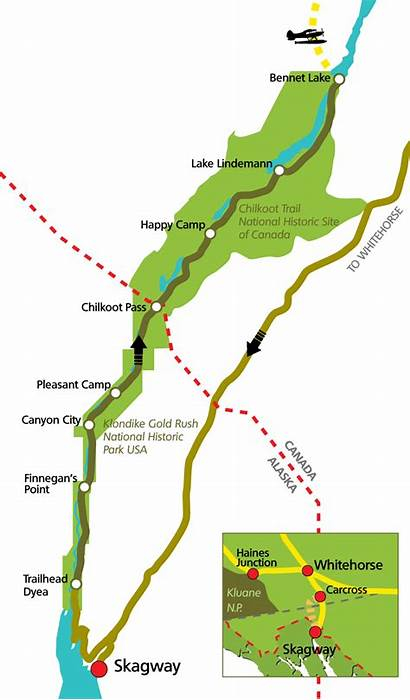 Chilkoot Trail Map Route Stampeders Trekking Tour