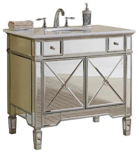 mirrored bathroom vanity cabinet 36 quot all mirrored reflection ashlyn bathroom sink vanity yr 023w 36 transitional bathroom