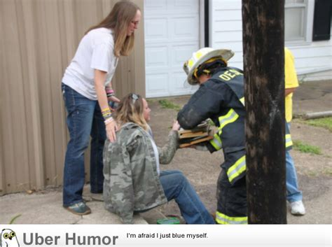 Firefighter In My Home Town Hands Woman Her Family
