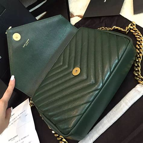 yves saint laurent ysl green college chain shoulder bag medium handbags leather green ref