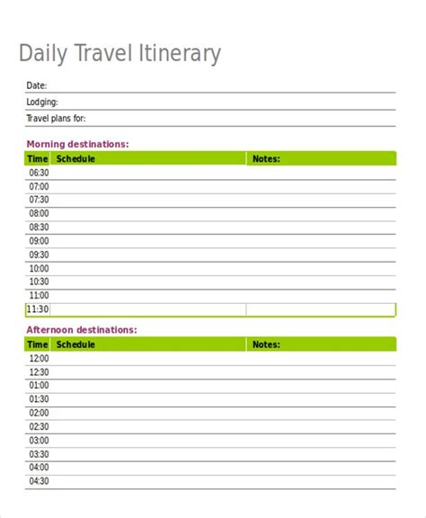 itinerary templates  excel  premium templates