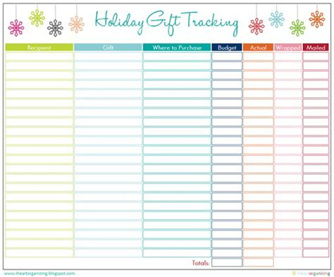 buying gifts tracker sheet iheart organizing free printables