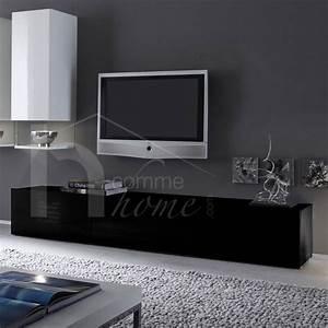 Meuble Laqué Noir : meuble tv laque noir ~ Premium-room.com Idées de Décoration
