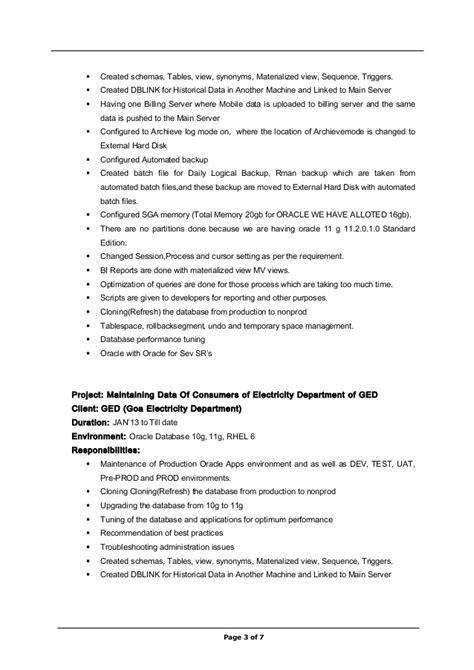 exp dba resume