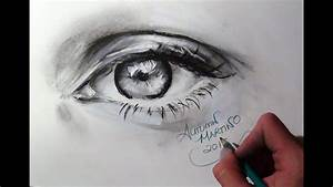 Realistic Charcoal Drawing Of An Eye  Time Lapse