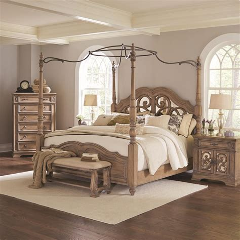 27010 coaster furniture beds coaster ilana king canopy bed with mirror back headboard