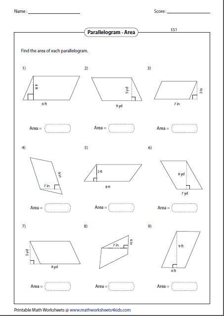 area of parallelogram worksheet homeschooldressage