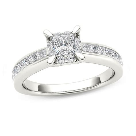 1 ct t w princess cut square frame engagement ring in 14k white gold engagement