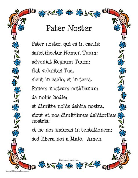 pater noster prayer pater noster prayer sheet that resource site