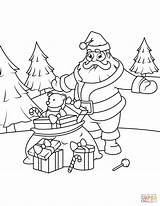 Claus Santa Coloring Christmas Pages Gifts Printable Giving Drawing Supercoloring Games Tutorials Books Puzzle Fun sketch template