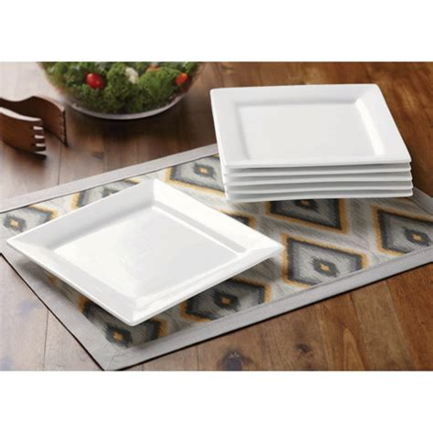 better homes and gardens square salad plates white set