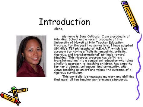 Professional Teaching Portfolio Template by How To Write An Introduction To A Portfolio Sle
