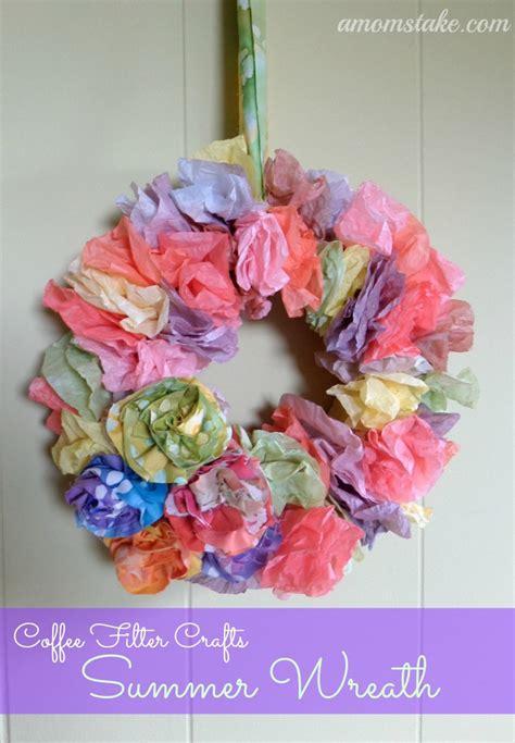 coffee filter crafts summer wreath  moms