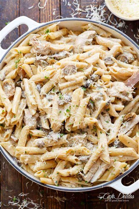 pot creamy mushroom chicken pasta lightened  cafe delites