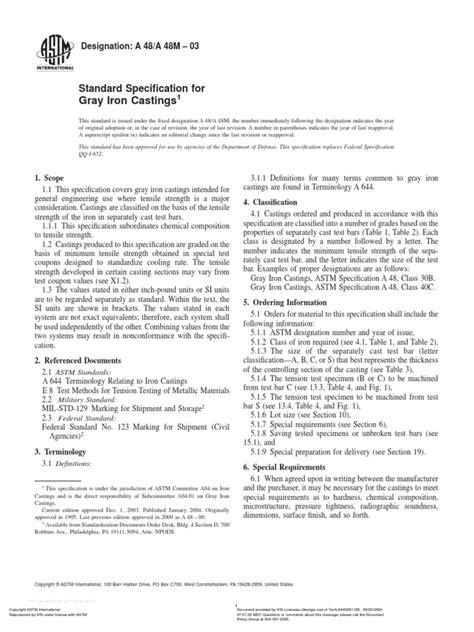 Astm a48 Gray Iron | Fundición (Metalurgia) | Tratamiento
