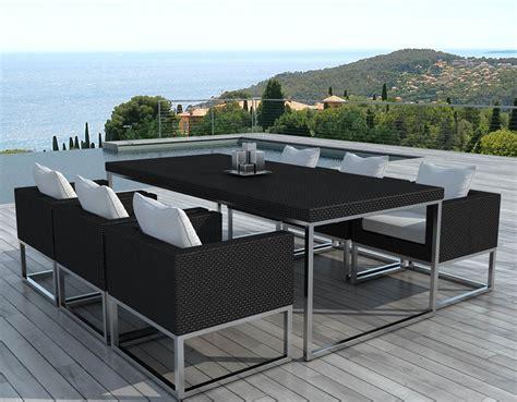 salon de jardin design 1 table 6 fauteuils salon en r 233 sine sur jardindeco