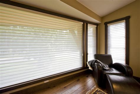 blinds  large windows living room contemporary
