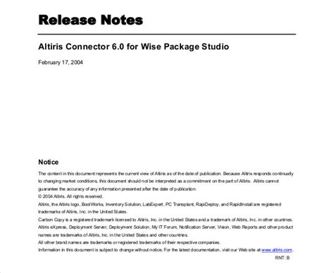 release notes template   word  documents