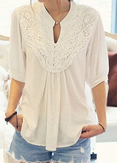 half sleeve blouse white half sleeve lace patchwork blouse rosewe com usd