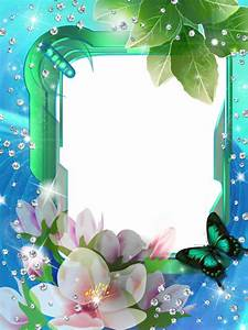 Blue Green Transparent PNG Photo Frame with Flowers | raj ...