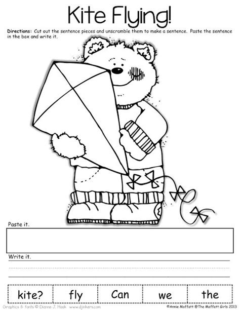 cut and paste sentence order worksheets word order types