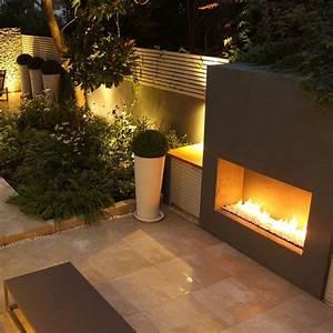 Cheminee Exterieur Bois : foyer g ant d 39 ext rieur gaz rectangulaire ultra moderne ~ Premium-room.com Idées de Décoration