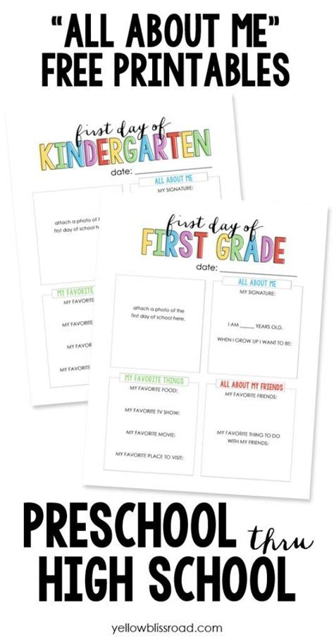 """Back To School """"all About Me"""" Free Printable  All About Me, For Kids And Third Grade"""