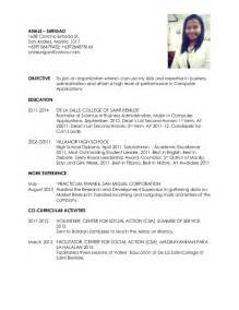 resume format for ojt information technology students should know resume