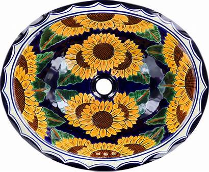Talavera Mexican Sink Bathroom Ceramic Sunflowers Oval
