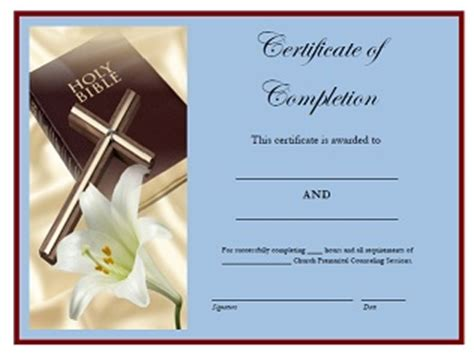 premarital counseling sessions certificate  completion