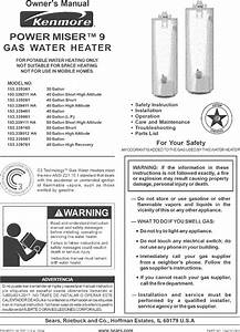 Kenmore 153339111ha User Manual Water Heater Manuals And