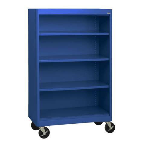Blue Bookcases by Sandusky Radius Edge Blue Mobile Steel Bookcase Bm3r361852