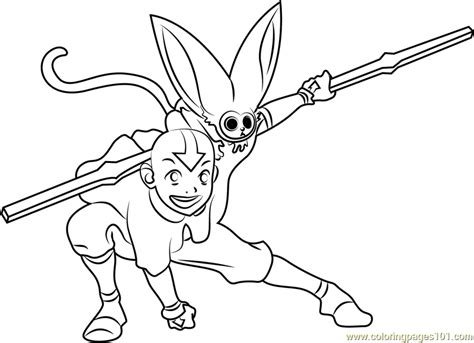 Coloring Page Of Aang And Appa Coloring Pages