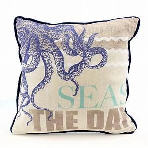 Octopus SEAS THE DAY Decorative Sofa Throw Pillow Nautical ...